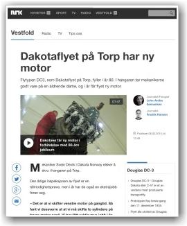 NRK VISER FLYINTERESSE: Rikskanalen har laget en fin artikkel fra miljøet på Torp. FAKSIMILE: NRK.